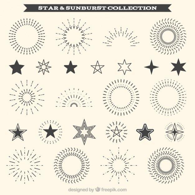 Coleção de sunburst decorativos e ornamento da estrela Vetor Premium