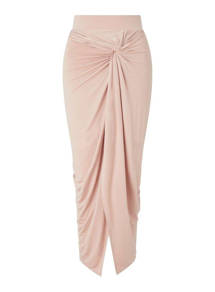 Blush Twist Knot Front Maxi Skirt