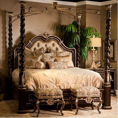Fancy Bed Frame With Pillars Bed Rooms Pinterest