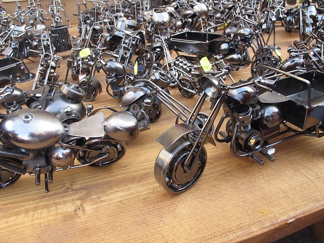 I own one of these, it's made completely of used motorcycle parts.
