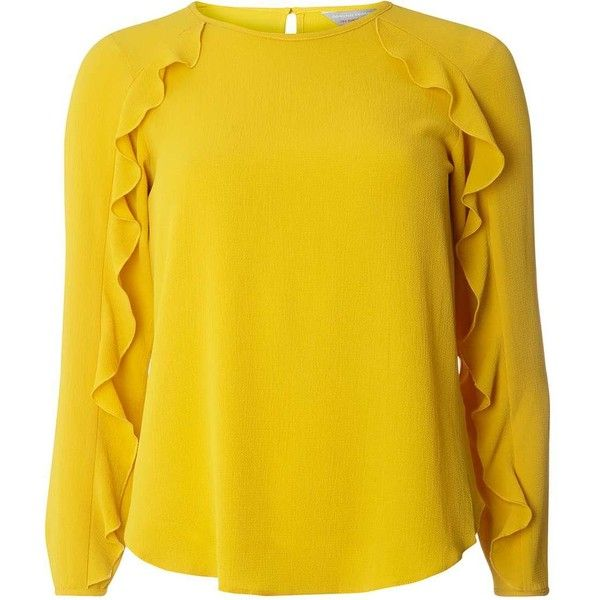 Dorothy Perkins Petite Ochre Ruffle Long Sleeve Blouse ($39) ❤ liked on Polyvore featuring tops, blouses, orange, petite, flutter-sleeve tops, petite long sleeve tops, petite blouses, yellow blouse and ruffle top