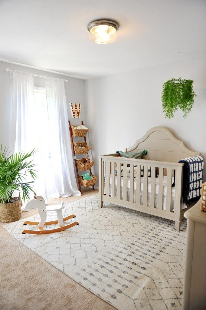 Bright modern nursery for any gender.  Neutral and natural to grow with baby http://www.arinsolangeathome.com #nursery #modernnursery #nurserydecor #babyboyroom #rugsusa