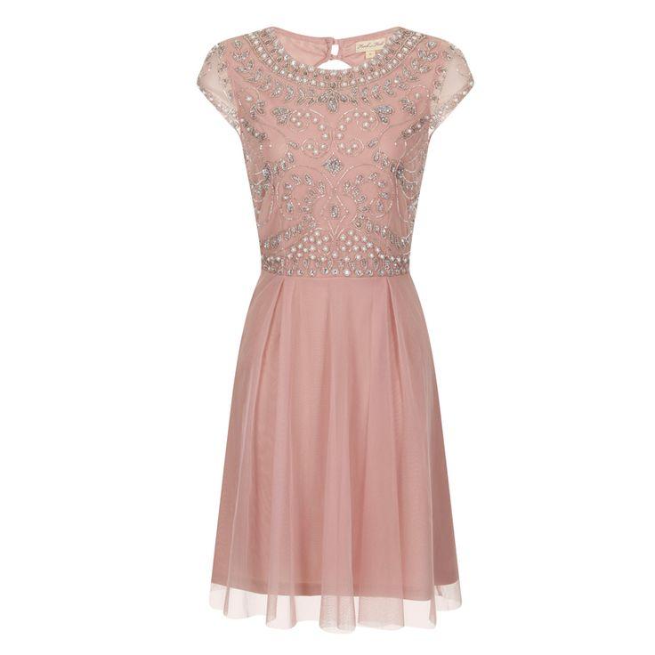 ビジューオープンバック・キャップスリーブドレス(ブラッシュピンク)首元から胸元、ウエストラインに沿って、柔らかく流線のスパンコールのラインが美しい上品なドレス。 #Bridesmaid #Wedding #Dress #Pink #Vintage #Sequin