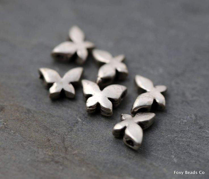 Butterfly Bead Spacer Nature Beads, Silver Plated Beads Spacer Bead Findings Silver Bead Spacers Jewelry Findings Wholesale Beads SFS021 by FoxyBeadsCo on Etsy