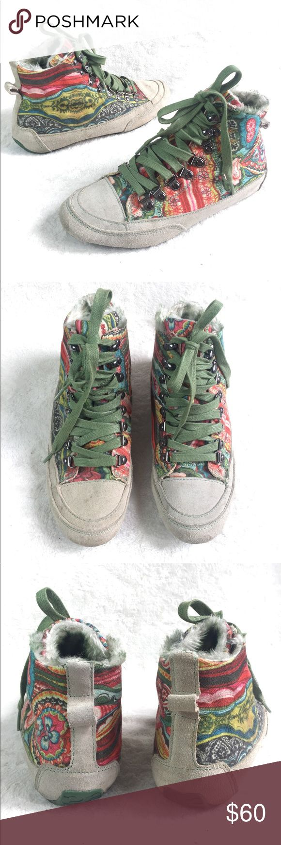 RARE Desigual Faux Fur Lined High Top Sneakers These are amazing! Love the colorful design and Faux fur interior. Upper is made of fabric and Suede Leather. Some minor wear, still in great condition. No box. Bundle 2 or more items to get discount  Desigual Shoes Sneakers
