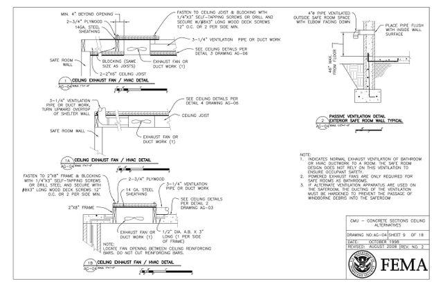 Tornado Safe Room : Concrete Section Ceiling Ventilation Details