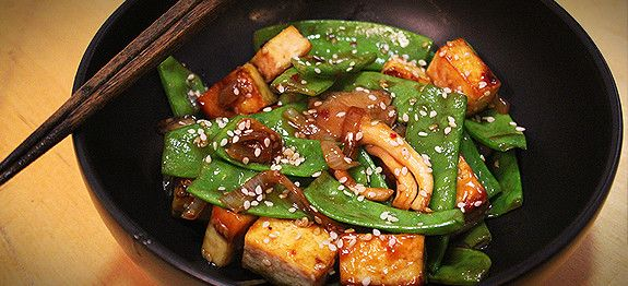 Spicy Sesame Tofu - perfect stir fry sauce. I used a bit of sesame oil ...