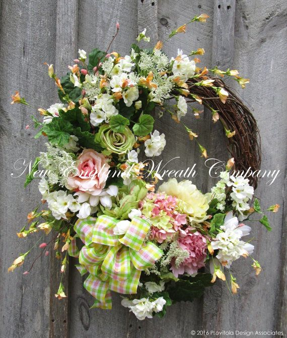 Spring Wreath, Easter Wreath, Floral Wreath, Designer Floral, Victorian Garden, Country French Wreath, Elegant Floral, Cottage Wreath  Duxbury