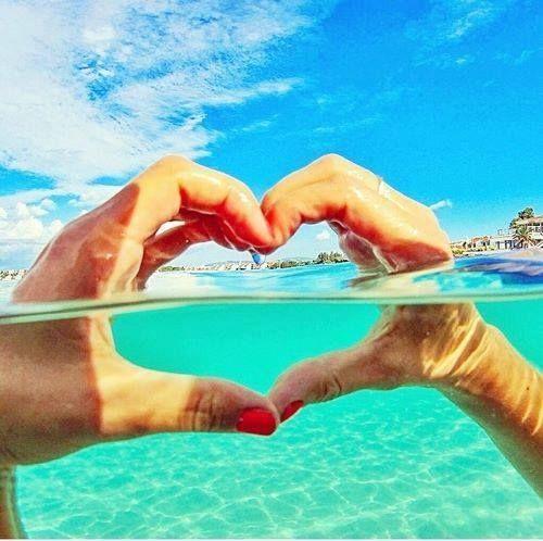 пляж, облака, сердце, ногти, расслабляться, море, небо, лето, плавать, вода