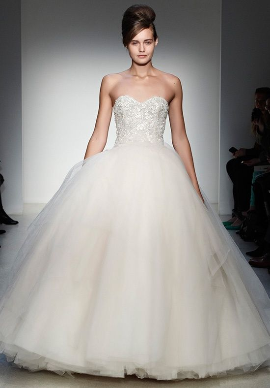 Hand embroidered crystal and silk bodice, sweetheart neckline and tulle skirt | Olympia from Kenneth Pool