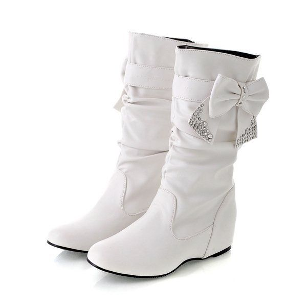 Boots White Teens Flat Boots 30