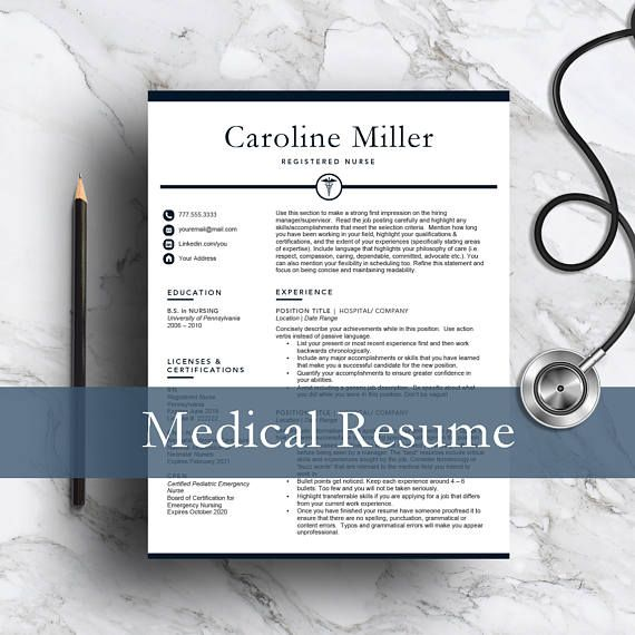 Nurse resume template for Word & Pages | 1, 2 and 3 page resume template | Medical resume