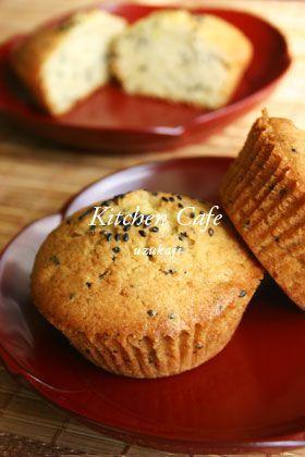 黒ゴマさつまいもマフィン [Black Sesame Sweet Potato Muffins]