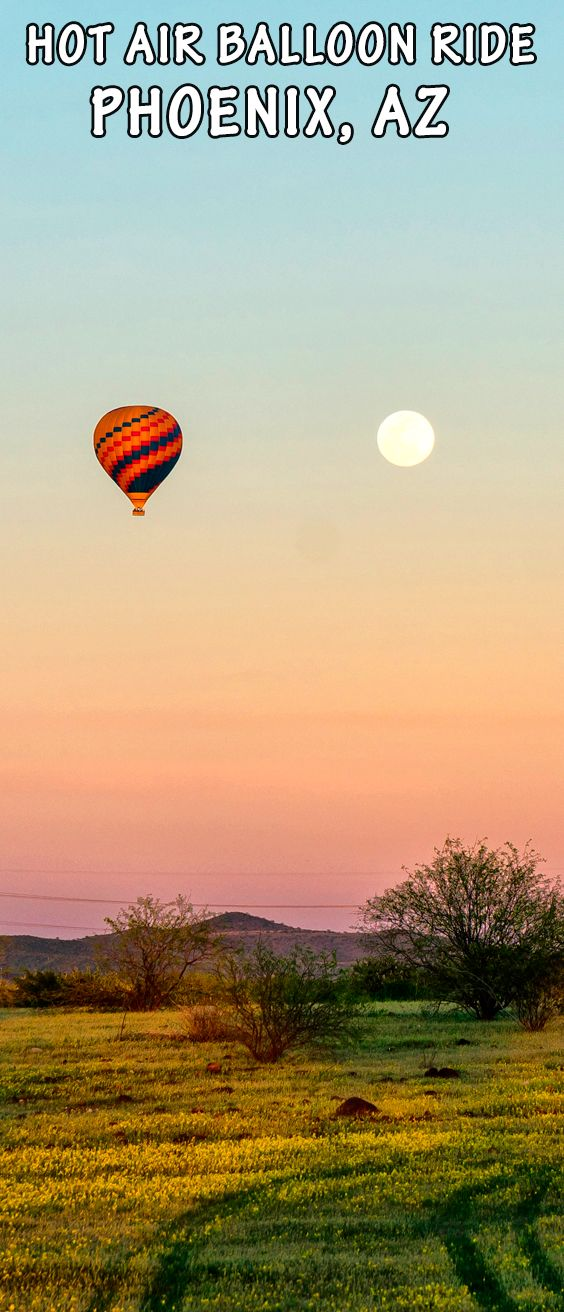 Take a sunrise or sunset hot air balloon ride in Phoenix, Arizona. Float over the Sonoran Desert for spectacular views of roads, water canals, desert landscapes, the urbran sprawl of Phoenix, Lake Pleasant. On a clear day you can see over 150 miles to Humphrey's Peak in Flagstaff, the highest mountain peak in Arizona. Hot air balloon ride are approximately 1 hour in length.