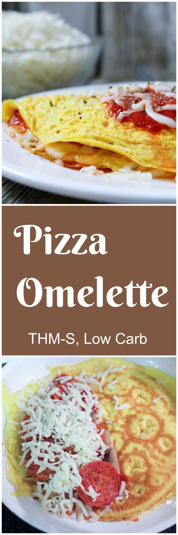 Low Carb Pizza Omelette (THM-S) savory breakfast with all the flavors of your favorite pizza! No special ingredients needed, and only a few minutes to make. This recipe is low carb, gluten free.