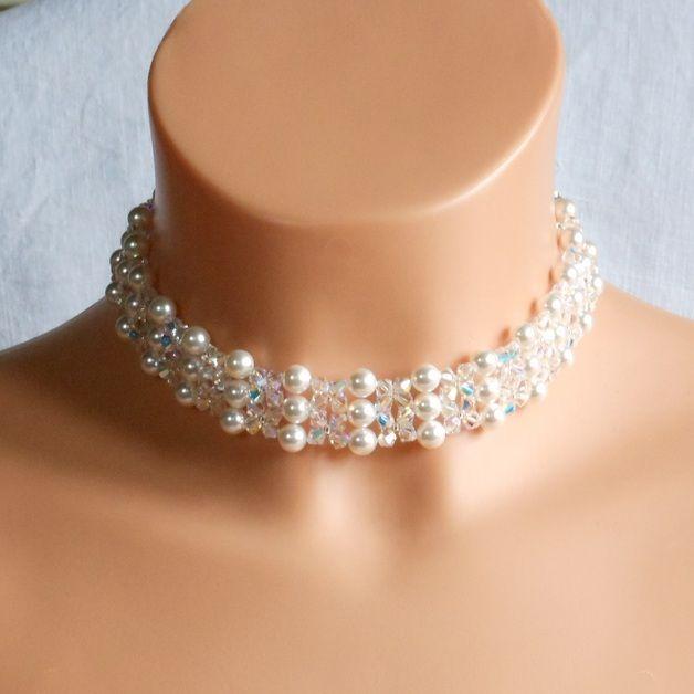Swarovski Kristall Braut Halskette,Perle Braut Halskette,Kristall Hochzeit Schmuck  Gemacht mit Swarovski-Perlen,Swarovski kristall und japanischen Rocailles.  Perlen sind Farbe weiß.