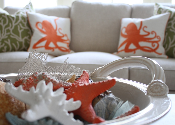 Painted Starfish And Bright Orange Octopus Pillows Add To The Coastal  Inspiration
