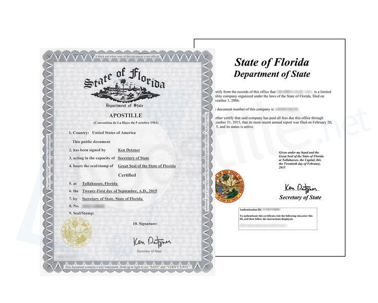 24 best State of Florida Sample Apostille images on Pinterest - best of florida birth certificate sample