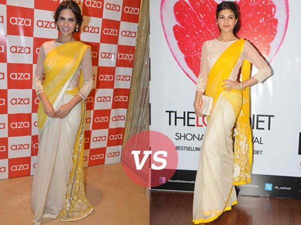 We thought that Esha Gupta's sari at the Aza Store Launch seemed a tad bit familiar till we found Jacqueline Fernandez dressed in the same sari a few months back at a book launch. Check out how the B-town beauties styled the traditional nine yards and  tell us who wore it better.