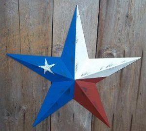 Amazon Com Heavy Duty Metal Star 24 Painted Rustic Texas Flag These