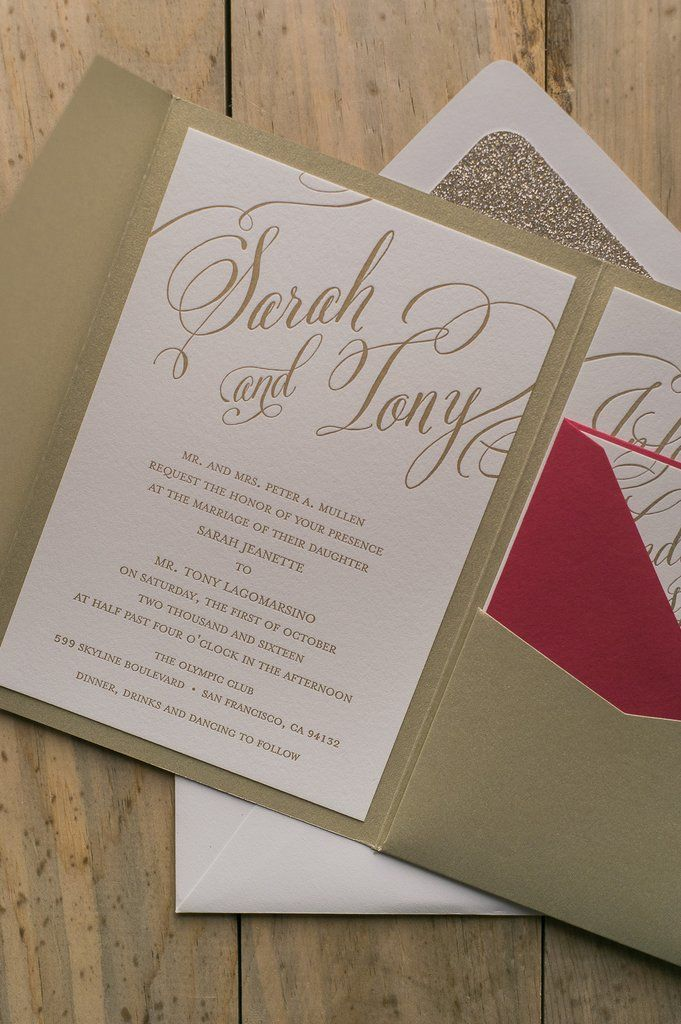 pocket wedding invitation templates%0A HANNAH Suite Glitter Pocket Folder Package  red and gold  calligraphy wedding  invitation  gold