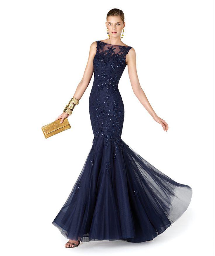 Most Popular Tulle Vestidos De Fiesta Bateau Neckline Beaded Lace Applique Mermaid Navy Blue Floor Length Evening Dress 2014 $89~$169