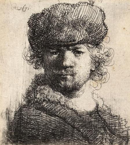 Er bestaan ook arceerlijnen. Dit zijn lijnen die op een schilderij een onderscheid maken tussen licht en donker. In dit figuur zie je een schets van Rembrandt van Rijn. Je ziet dat het haar van Rembrandt (het schilderij is een zelfportret), donkerder is dan het gezicht van Rembrandt. Je ziet het verschil tussen de donkere en lichte vlakken. Deze verschillen worden aangegeven via arceerlijnen.