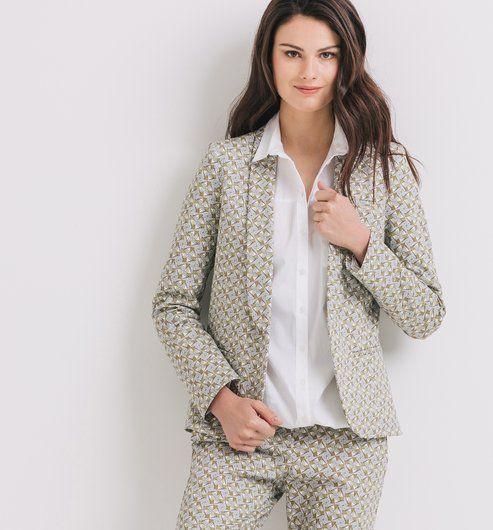 Suit jacket blue print - Promod