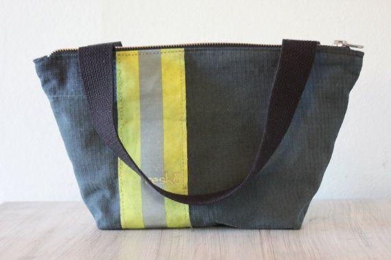 Recycled Firefighter Gear handbag, mini tote, bunker gear bag on Etsy, $89.00