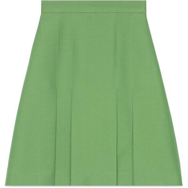Gucci Wool-Silk Pleated Skirt (22.428.090 VND) ❤ liked on Polyvore featuring skirts, ready-to-wear, women, green skirt, wool skirts, mint green skirt, gucci and woolen skirt