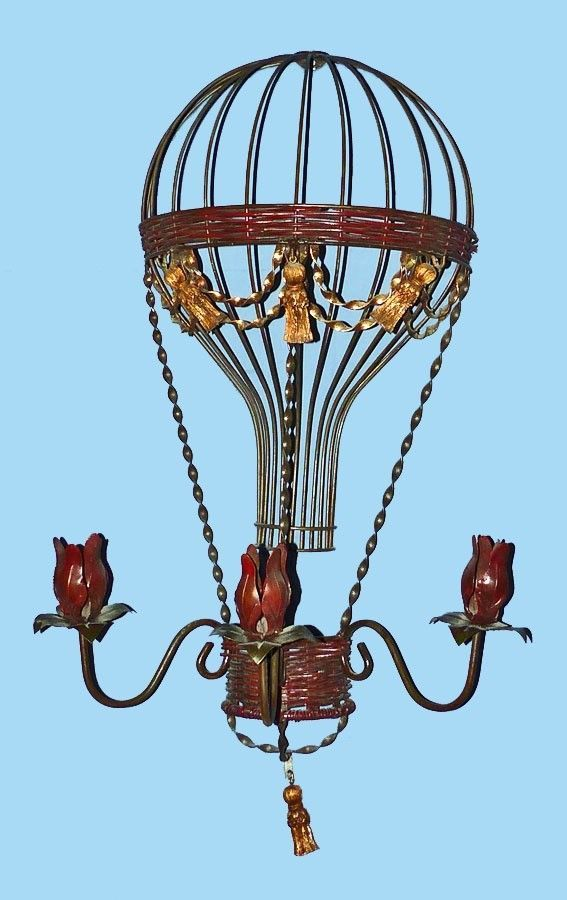 1980's Unique Iron & Gold Mixed Media Hot Air Gas Balloon Wall Hanging Sculpture