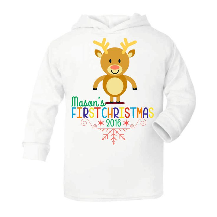 Babies First (1st) Christmas - Reindeer Lightweight baby hoodie personalised for babies - Funny Baby hoodies by Mint Doodles by MintDoodles on Etsy