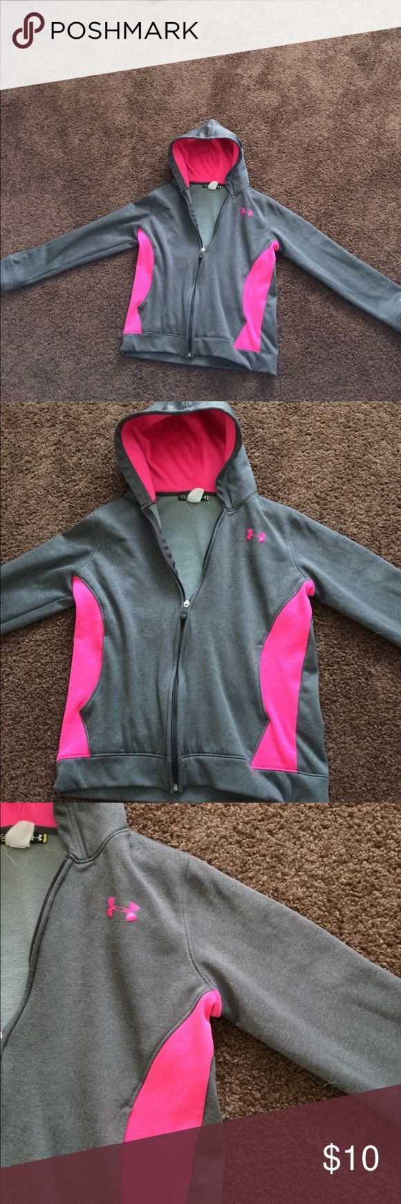 Under Armor Pink & Grey Size Youth Large Jacket Under Armor Pink & Grey Size Youth Large Athletic Jacket. I wear a Medium, so a Large is very comfortable! Great condition! Under Armour Jackets & Coats