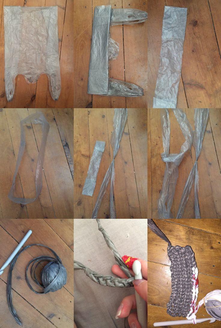Experimentation using a plastic bag- crotchet technique