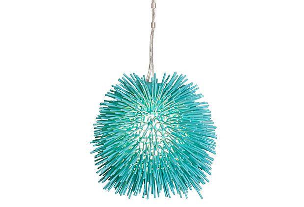 Urchin 1-Light Mini Pendant, Aqua