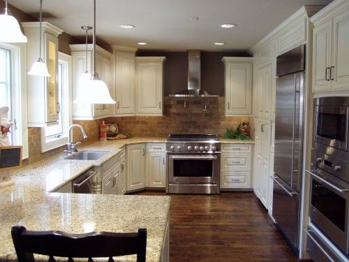 Dark Wood Floors And Light Colored Granite Countertops Colors Cabinets