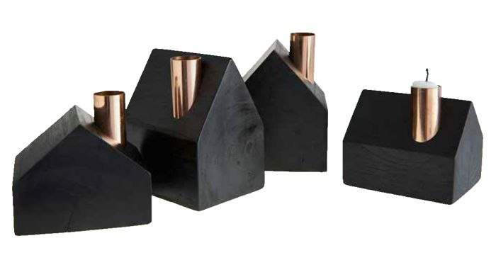 Decorative and trendy black and copper candle-houses from Muubs