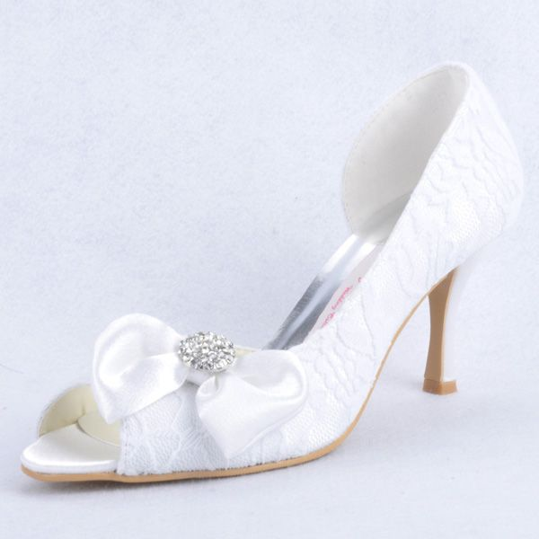 Oomph 3 inch Lace Bowknot Peep-toe Pumps - Bridal Shoes