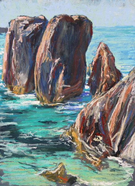 Fine Art Landscapes: Mangurstadh Gallery - pastel painting of the sea stacs at Mangersta Beach by artist Derek Scanlan. To see more examples of Derek Scanlan's work visit Mangurstadh Gallery in the Outer Hebrides, Scotland.
