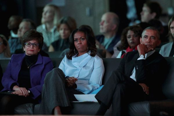 Michelle Obama Photos - Former advisor to the president Valerie Jarrett (L) and former first Lady Michelle and president Barack Obama listen to speakers at the inaugural Obama Foundation Summit on October 31, 2017 in Chicago, Illinois. The two-day event will feature a mix of community leaders politicians and artists exploring creative solutions to common problems, and experiencing art, technology, and music from around the world. - Michelle Obama Photos - 17 of 9409