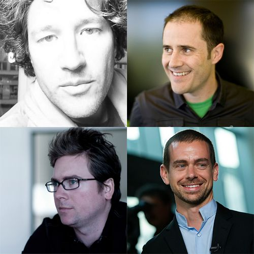 Clockwise from top left: Twitter co-founders Noah Glass, Evan Williams, Jack Dorsey, and Biz Stone.