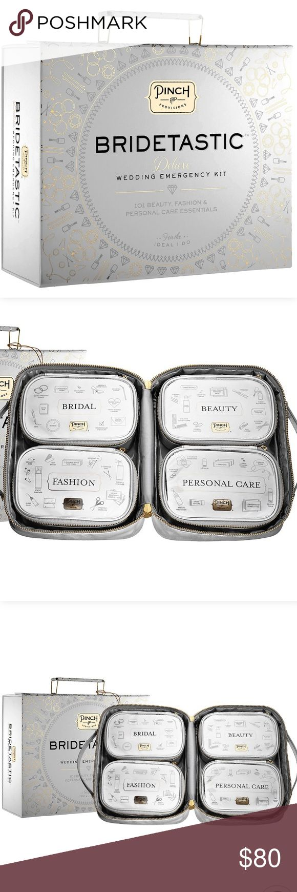 Bridetastic™ Deluxe Wedding Emergency Kit An exclusive wedding day survival kit that contains 101 solutions for beauty blunders, fashion faux pas, and personal care predicaments. Pinch Provisions Other