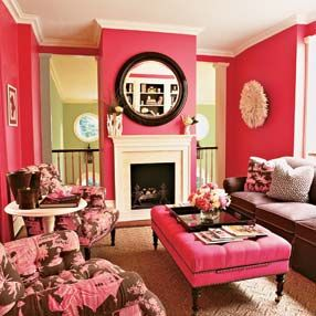 "mim always said ""every room should have a little pink in it,"" and to prove it she once dyed all the living room rugs and slip covers coral.  this would be right up her alley."