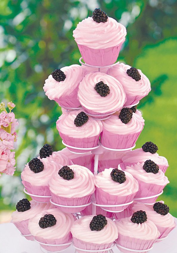 For a little something sweet, bake a batch of these blackberry swirl cupcakes by Sandra Lee.