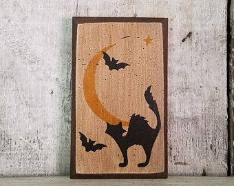 Primitive Fall Decor, Halloween Decor, Scared Cat, Moon, Fall Decoration, Country Fall Decor, Rustic Fall, Primitive Halloween Decor