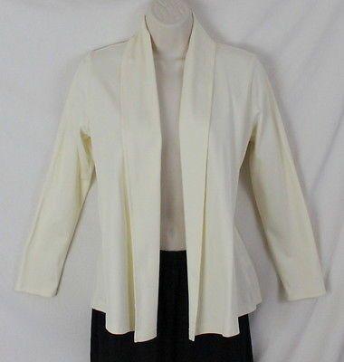 LL Bean Fly Away Shirt Jacket XS Petite Size Ivory Soft Supima Cotton Open Front