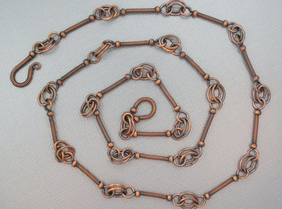 Hand Made Copper Chain Necklace with Coiled Links by MeMosEmporium