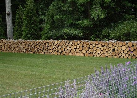 Log fence, this one in Amagansett, though I have seen even more splendid examples in France using chestnut. Essential to differentiate from the woodpile look.