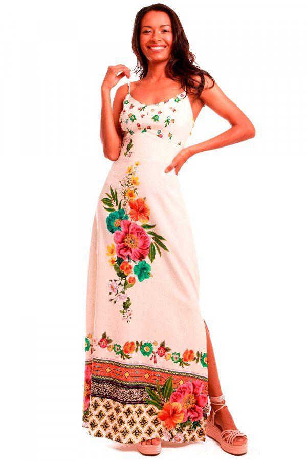 283be136d VESTIDO LONGO ESTAMPADO CHUVA DE FLORES OFF WHITE Vestido longo com estampa  exclusiva Munny Chuva de Flores. Modelo de tecido leve