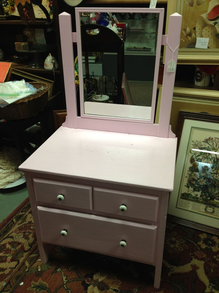 Add A Mirror To A Small End Table And Paint A Fun Color For A Little